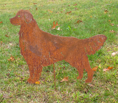 Golden Retriever Garden Stake Rust