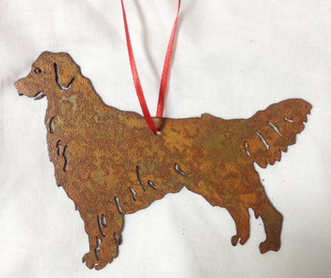 holiday ornament rustic golden retriever ornament
