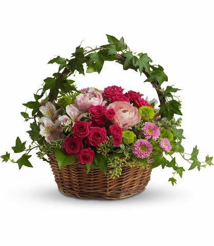 Basket of flowers. Birthday flowers. Florist in Coral Gables.