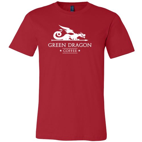 Men's White Dragon Shirts - Green Dragon Coffee  - 2