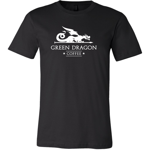 Men's White Dragon Shirts - Green Dragon Coffee  - 1