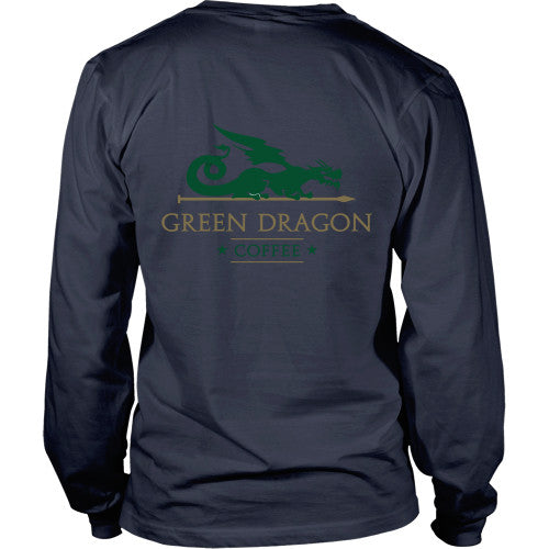 Mens Long Sleeve Dragon Shirt - Green Dragon Coffee  - 10