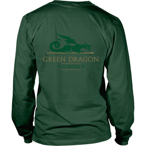 Mens Long Sleeve Dragon Shirt - Green Dragon Coffee  - 12