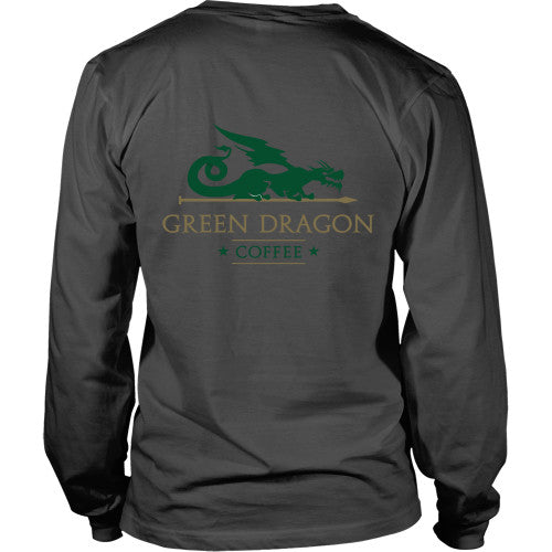 Mens Long Sleeve Dragon Shirt - Green Dragon Coffee  - 14