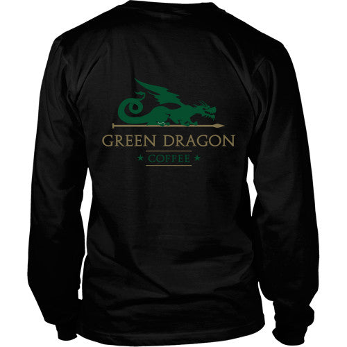 Mens Long Sleeve Dragon Shirt - Green Dragon Coffee  - 16