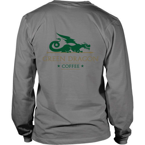 Mens Long Sleeve Dragon Shirt - Green Dragon Coffee  - 18