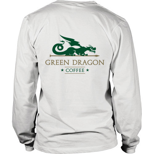 Mens Long Sleeve Dragon Shirt - Green Dragon Coffee  - 2
