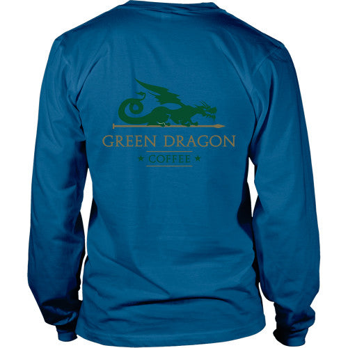 Mens Long Sleeve Dragon Shirt - Green Dragon Coffee  - 4