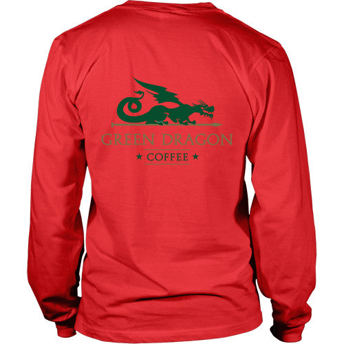 Mens Long Sleeve Dragon Shirt - Green Dragon Coffee  - 6