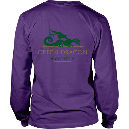 Mens Long Sleeve Dragon Shirt - Green Dragon Coffee  - 8