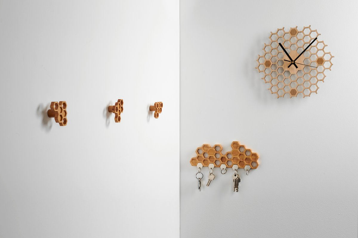 Hexagonal Bamboo Honeycomb Clock
