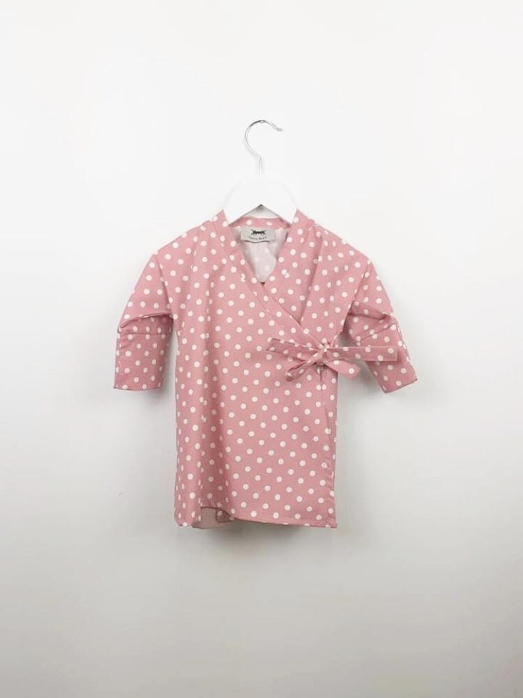 ΒΑΒΥ ΚΙΜΟΝΟ DRESS SET * DUSTY PINK POLKA