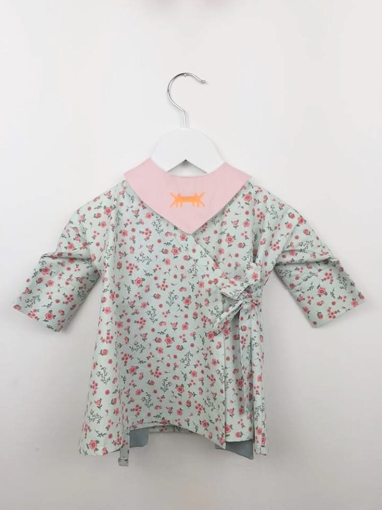 BABY KIMONO DRESS SET * MINT FLORAL