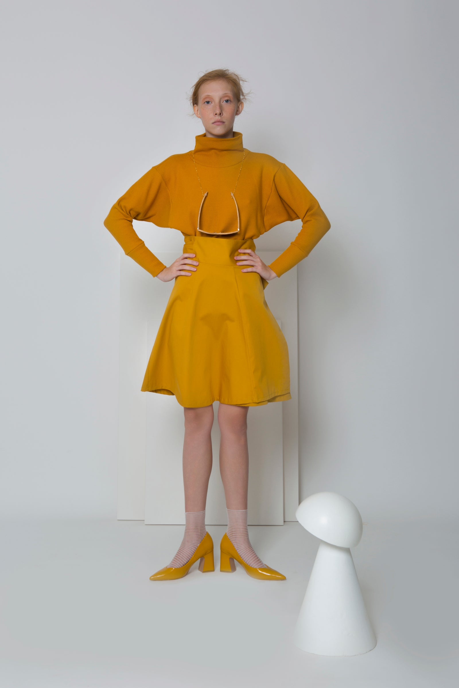 Skirt Watanuki in Cotton Gabardine Colors