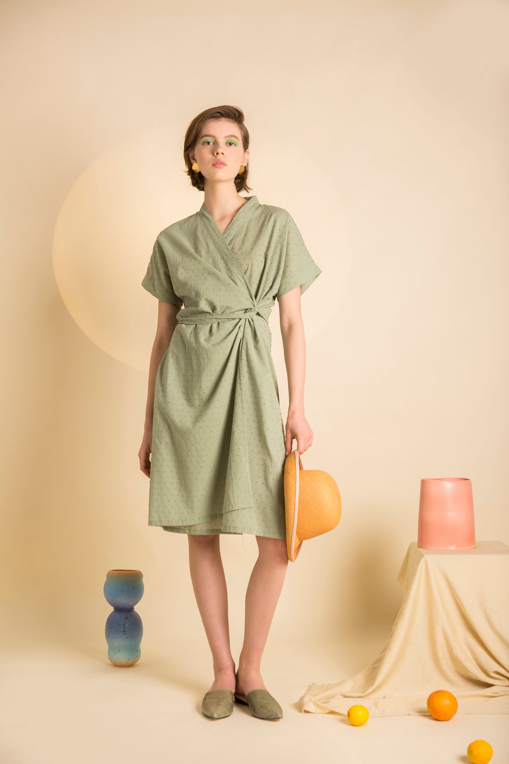 Dress Kimono in Cotton Plumenti Colors