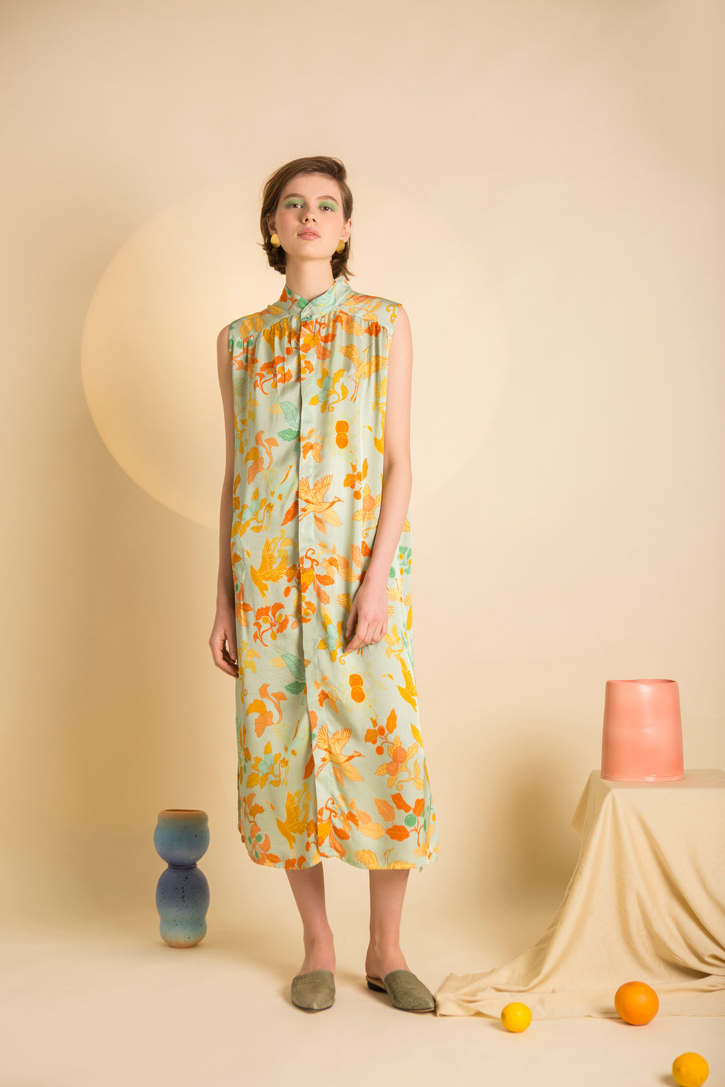 Dress Akiko in Satin Viscose AM Japanese Print