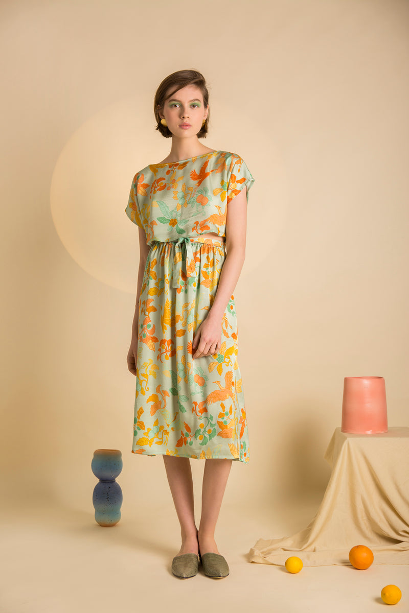 Dress Chu-Musubi in Satin Viscose AM Japanese Print