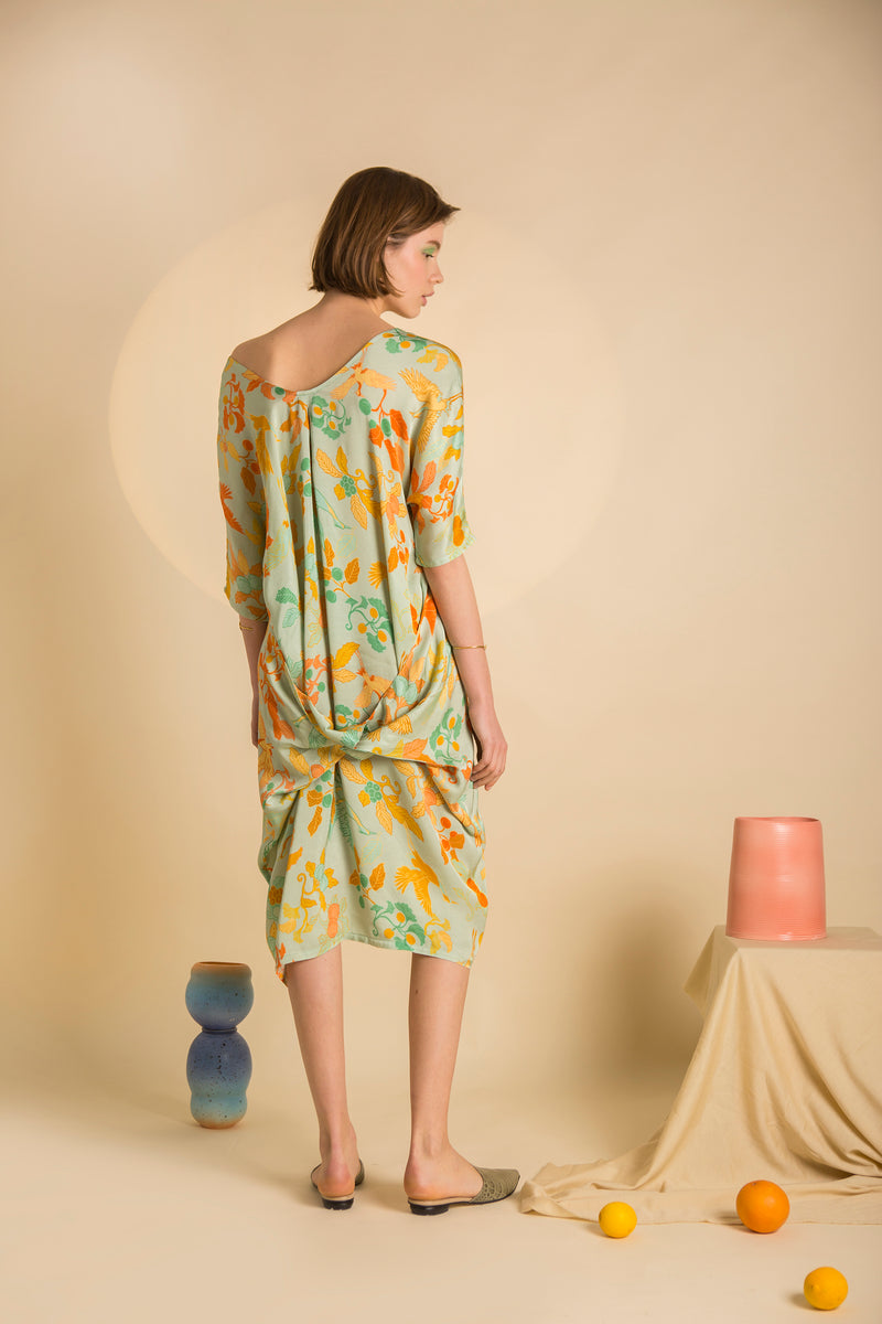 Dress Love Pocket in Satin Viscose AM Japanese Print
