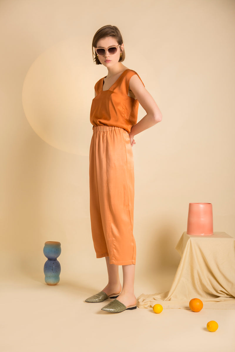 Pants Goto in Viscose Satin Crepe Colors