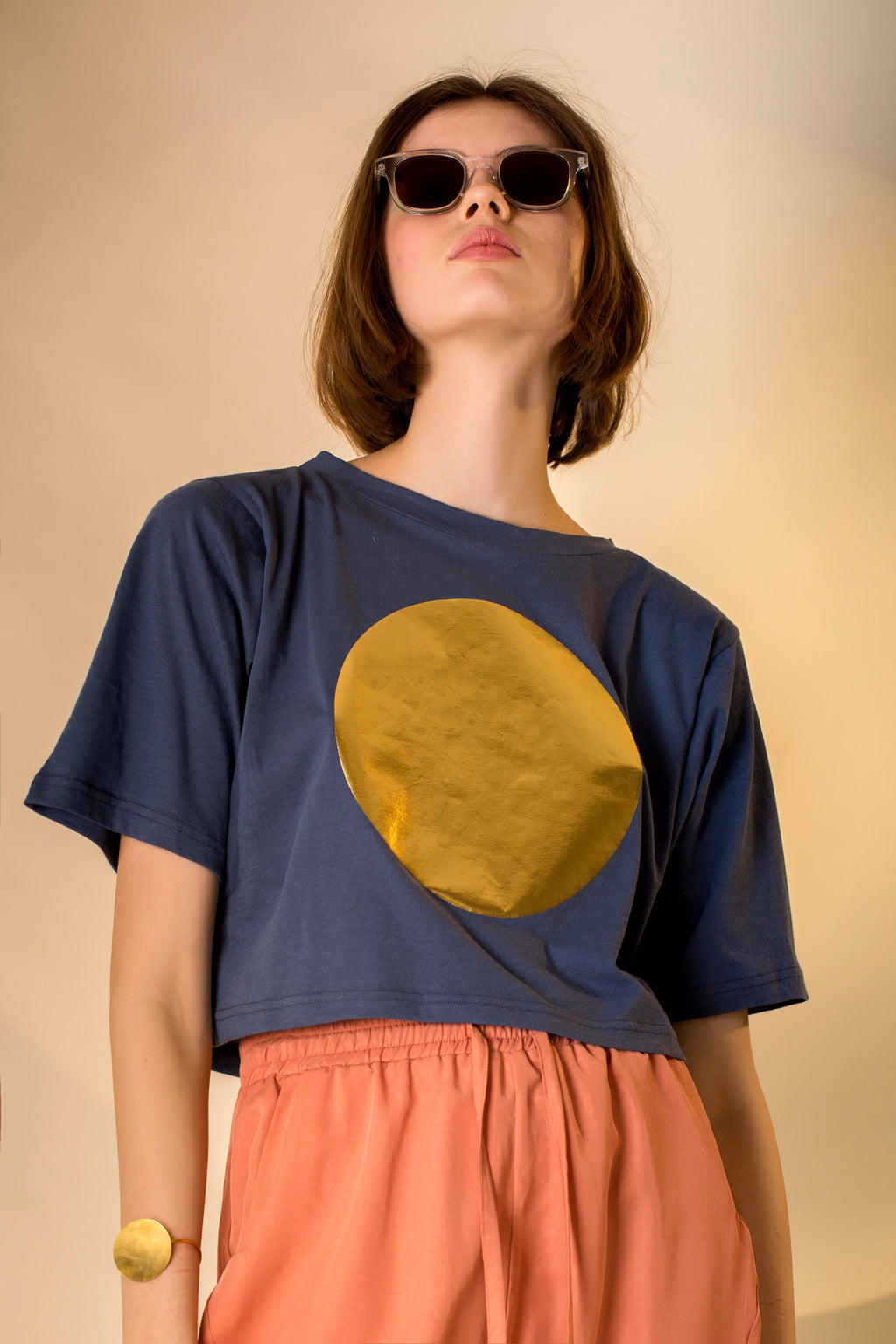 AM Cropped T-Shirt Golden Sun Colors
