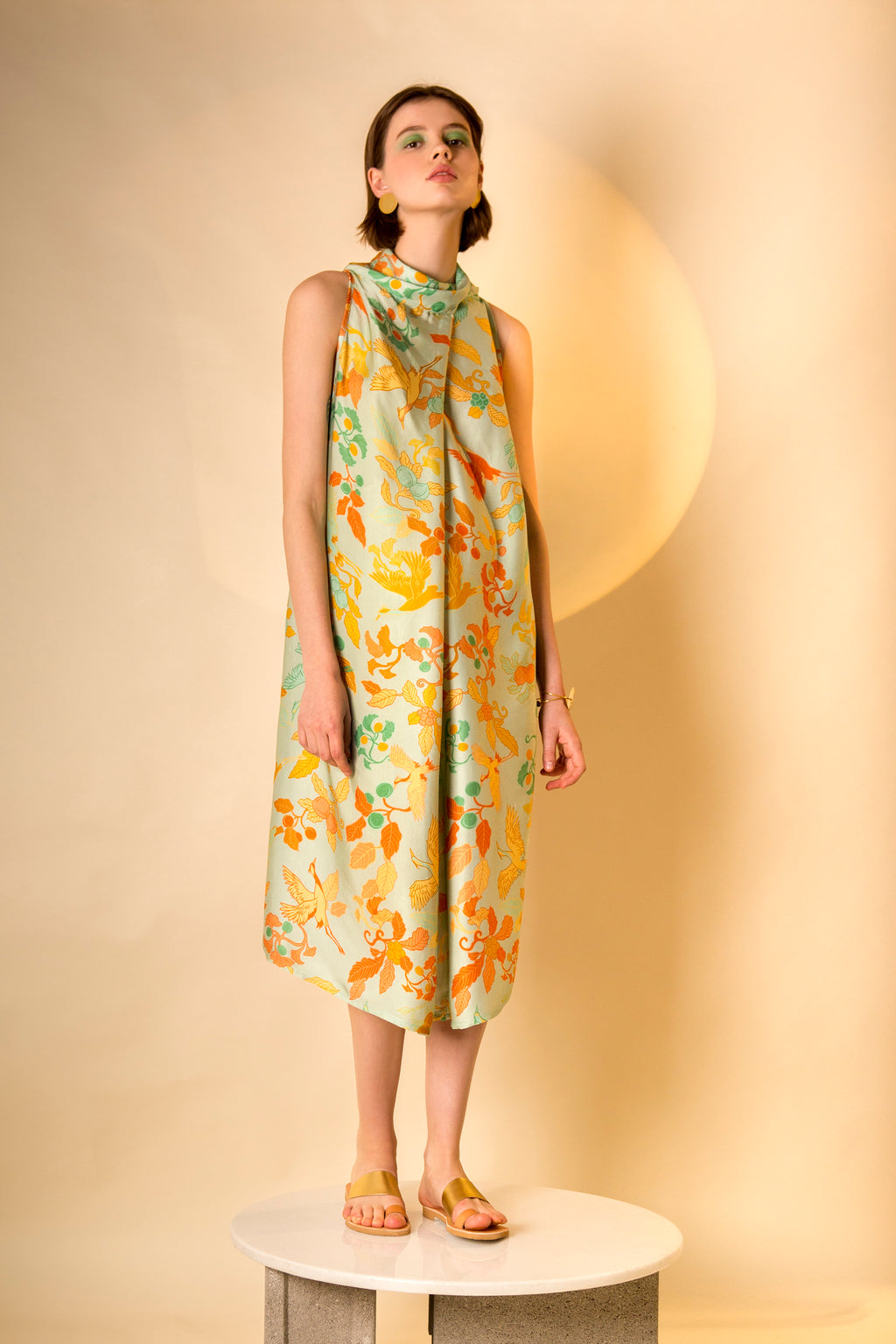 Dress Carioca in Satin Viscose AM Japanese Print