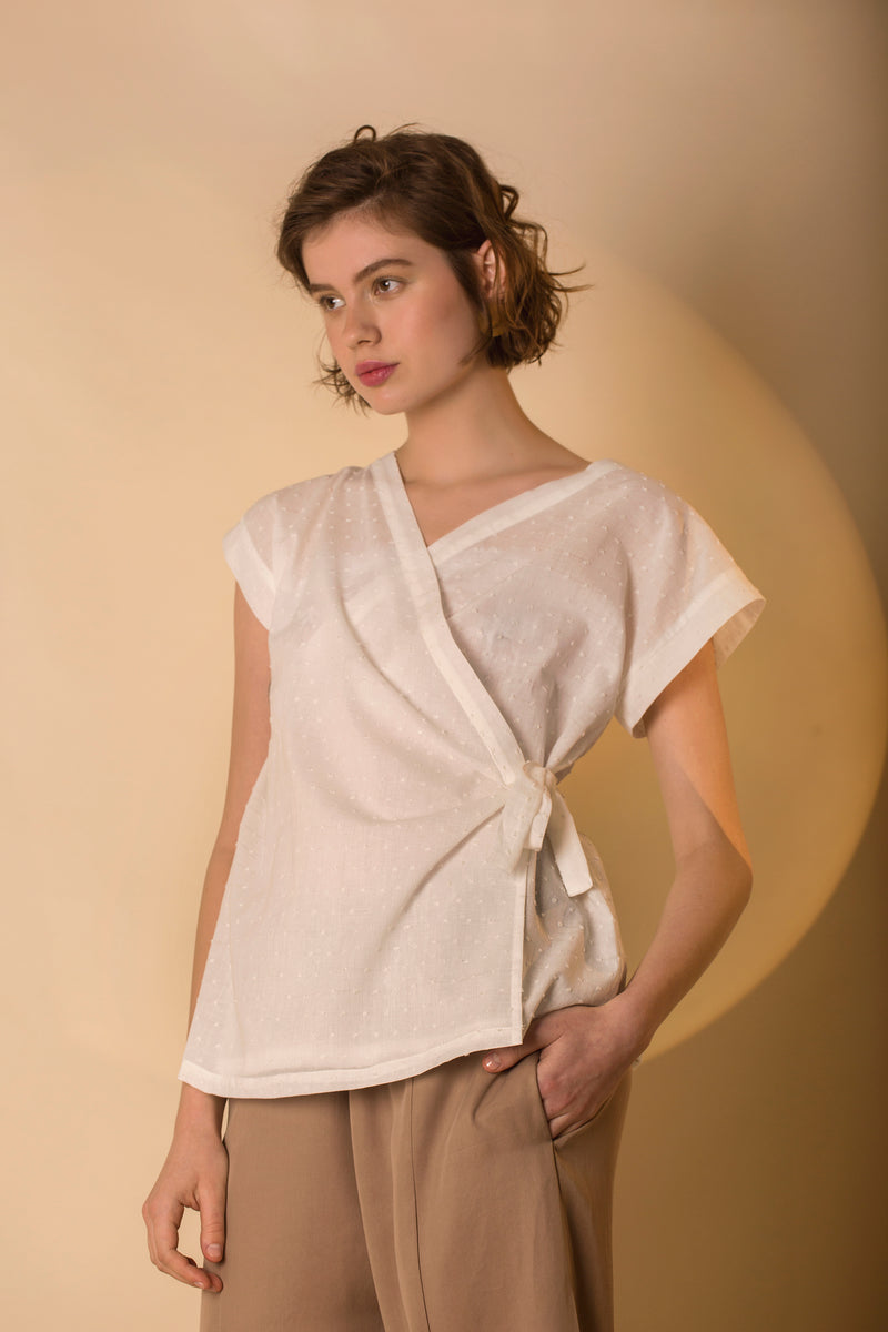 Top Miya in Cotton Poplin Plumenti Colors