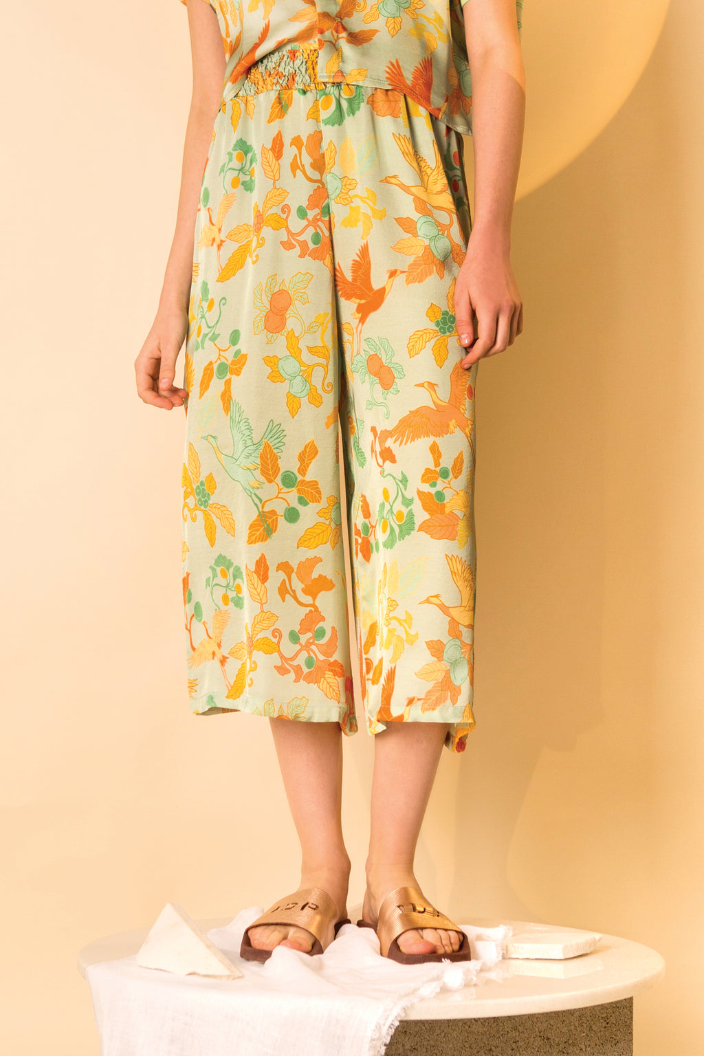 Wide Leg Pants Shiro in Satin Viscose AM Japanese Print