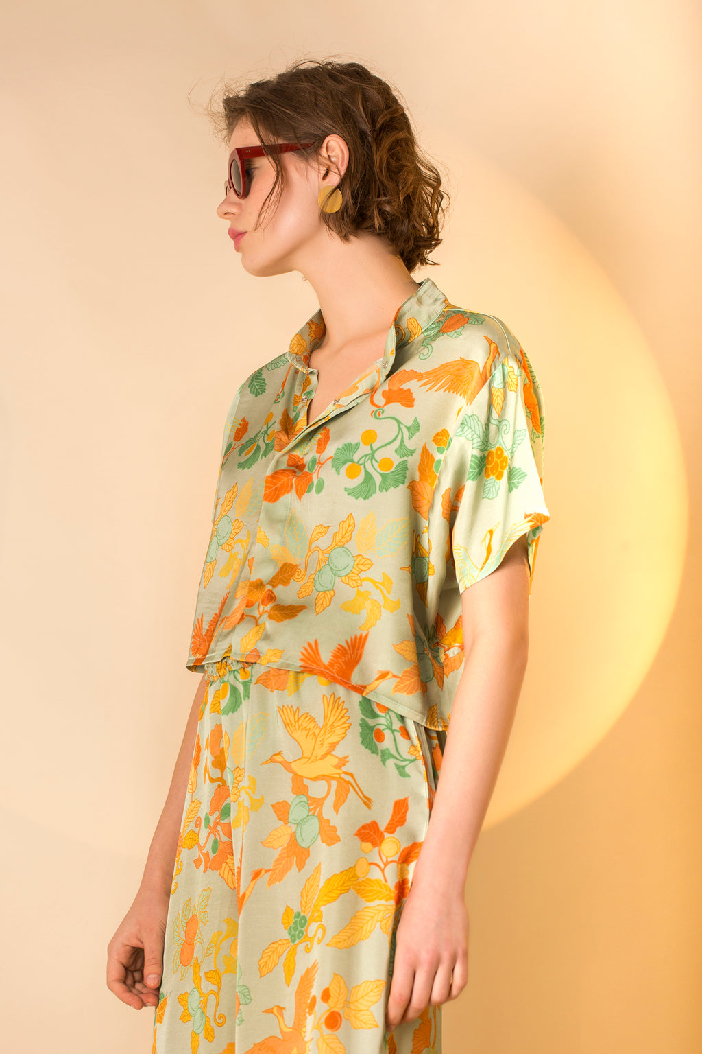 Shirt Dori in Satin Viscose AM Japanese Print