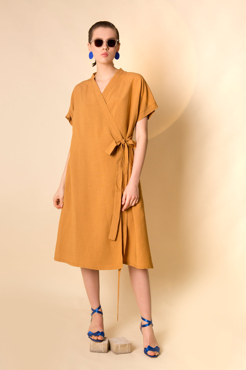 Dress Kimono in Linen-Viscose Colors