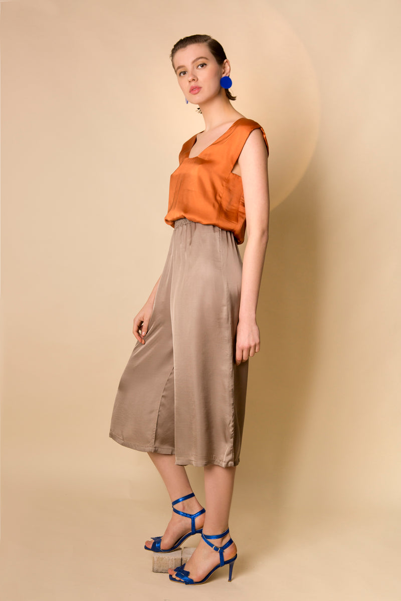 Wide Leg Pants Shiro in Satin Viscose Colors