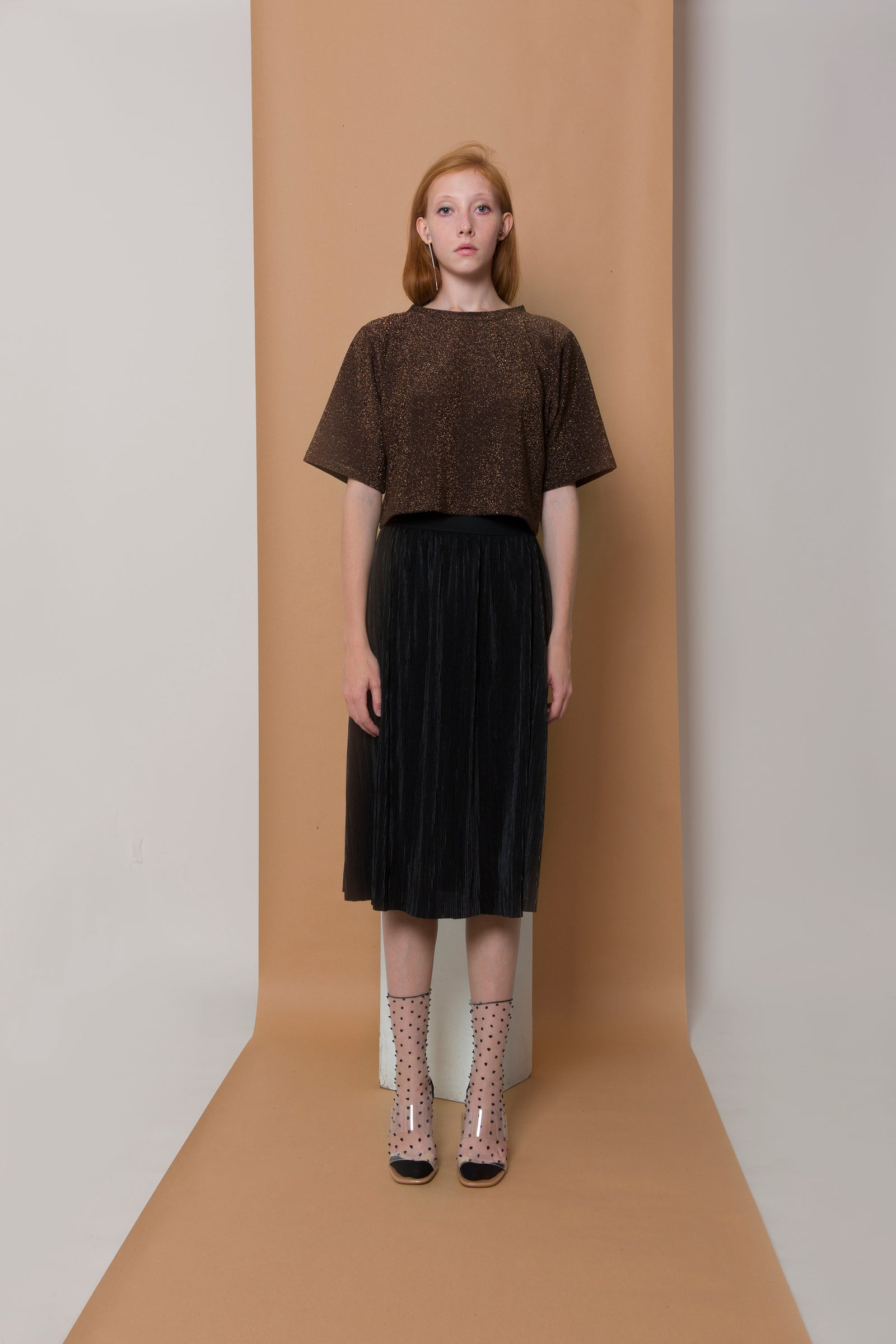Skirt Rena in Black Pleated Satin