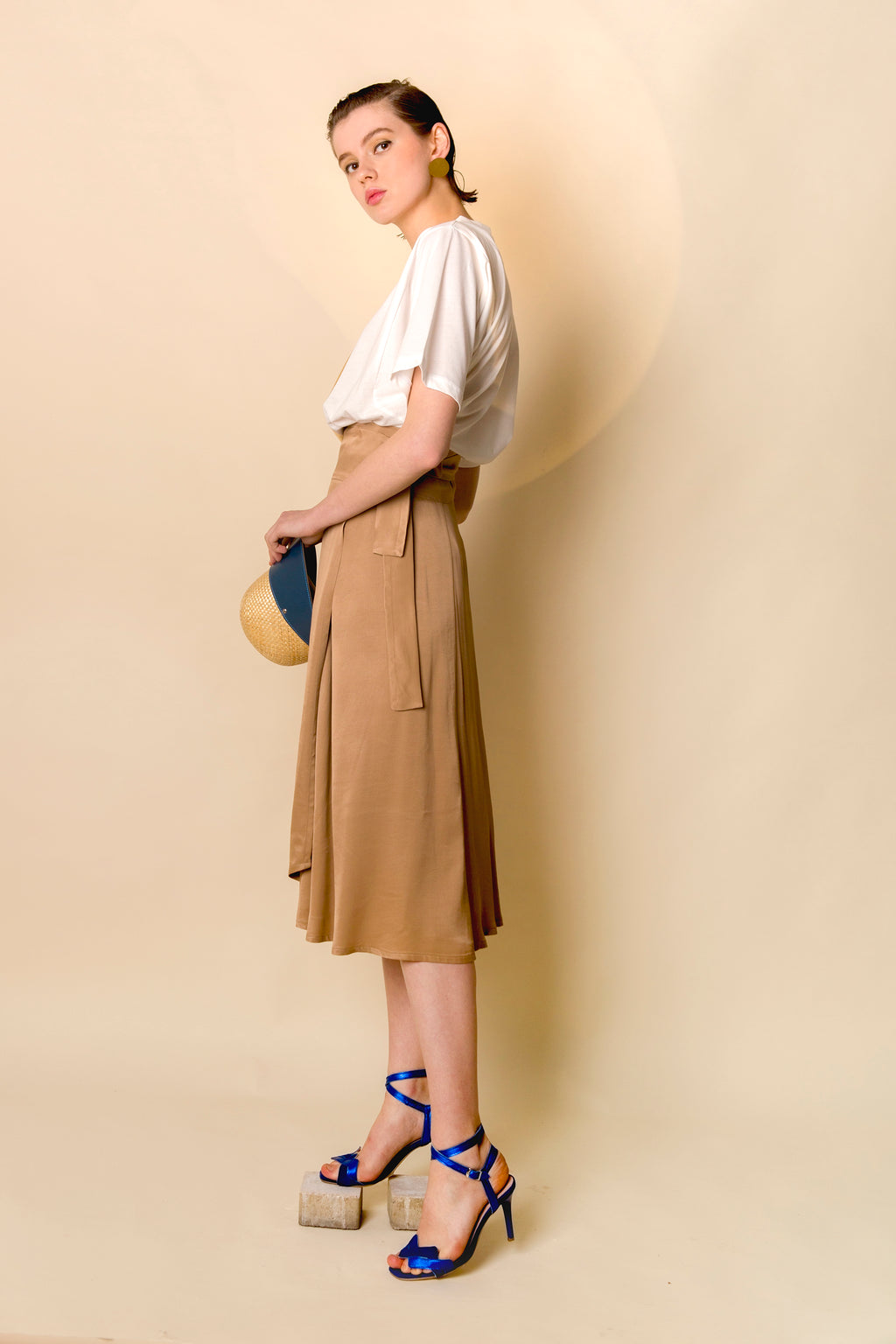 Skirt Hora in Viscose Satin Crepe Colors