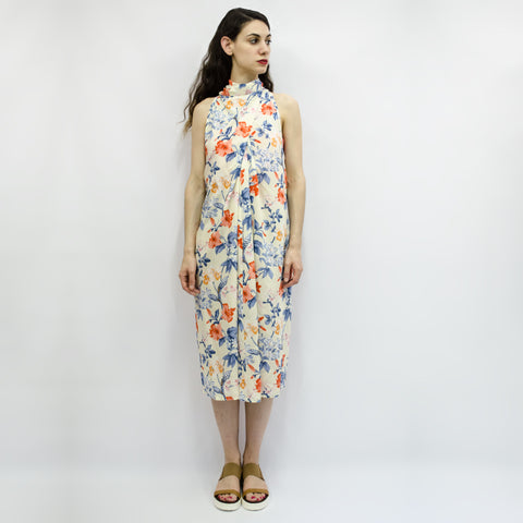 Dress Carioca in Ecru Floral Viscose