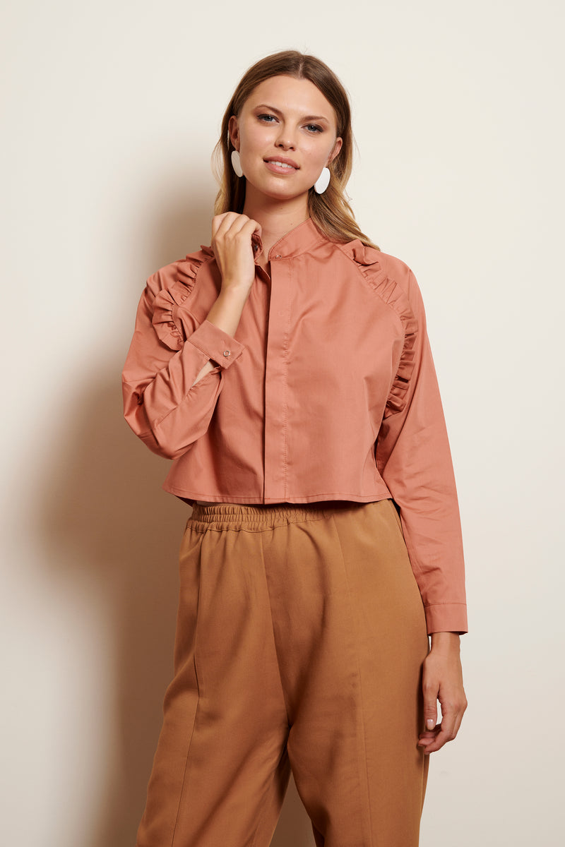 Shirt Yogi Cropped in monochrome silky cotton
