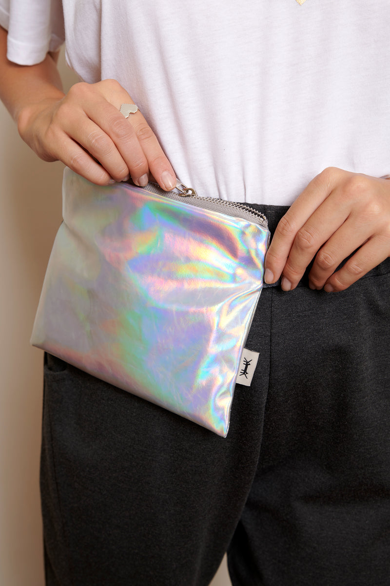 Banana Belt Bag in iridescent faux leather