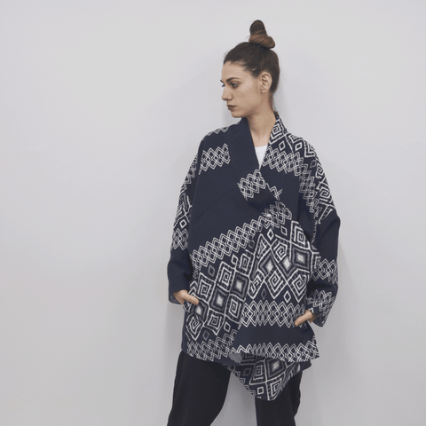 Jacket Chuco in Cotton Navy Blue Geometry Print