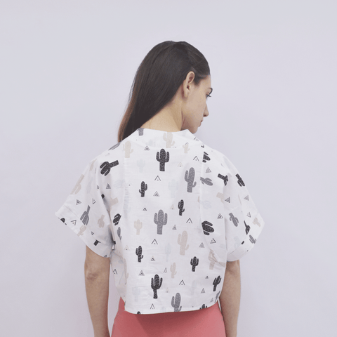 Cropped Top Aya in Cotton Poplin Cactus Pattern