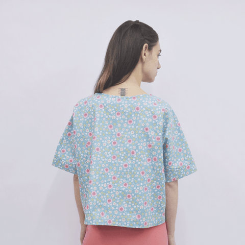 Cropped Top Jirou in Cotton Poplin Floral
