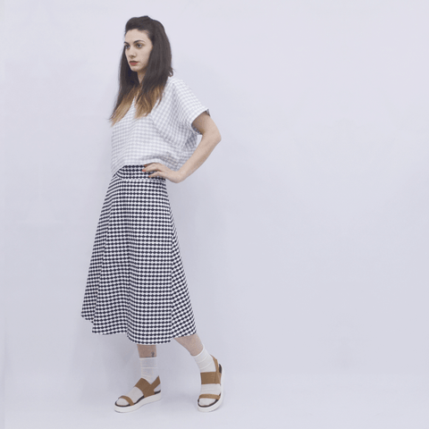Skirt Milo in Cotton Poplin Cloudy Pattern