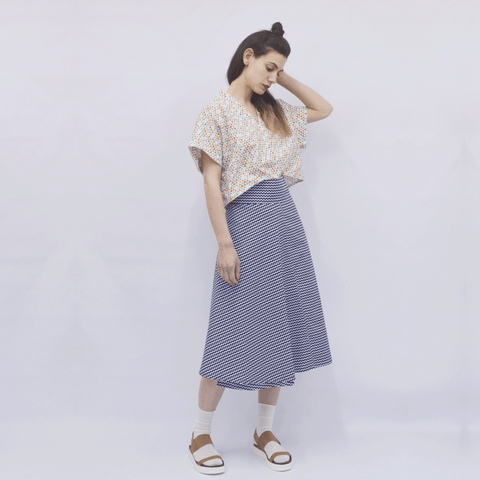 Skirt Milo in Cotton Poplin Wave Pattern
