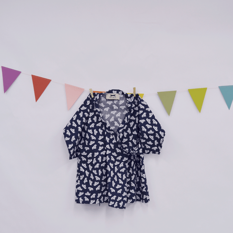 Baby Kimono Dress in Navy Blue Paper Boat