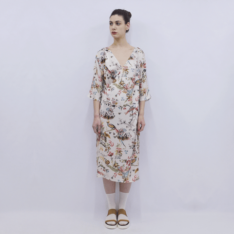 Dress Hanako in Creme Bird Floral Silky Satin