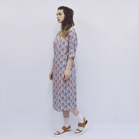 Dress Hanako in Water-coloured Floral Viscose