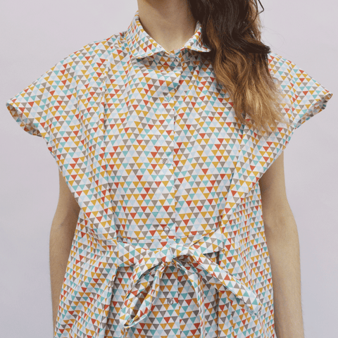Shirt Dress Nanami in Multicolored Triangles Cotton Poplin