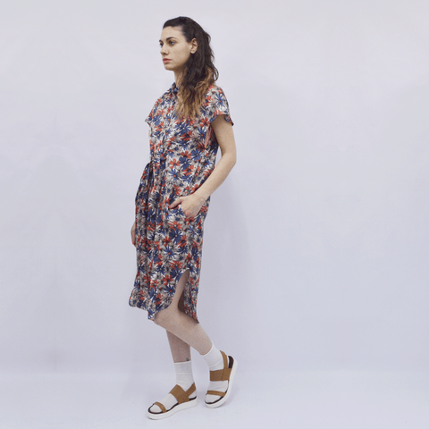 Shirt Dress Nanami in Floral Silky Satin