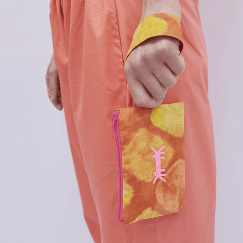 Pouch Mini in Orange-Red Print