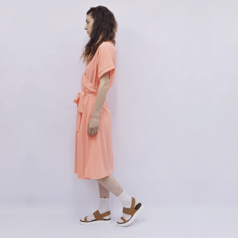 Dress Kimono in Salmon Pink Crepe