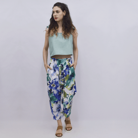 Cropped Trousers Pikatsu in Cobalt Blue Floral Cotton Gabardine