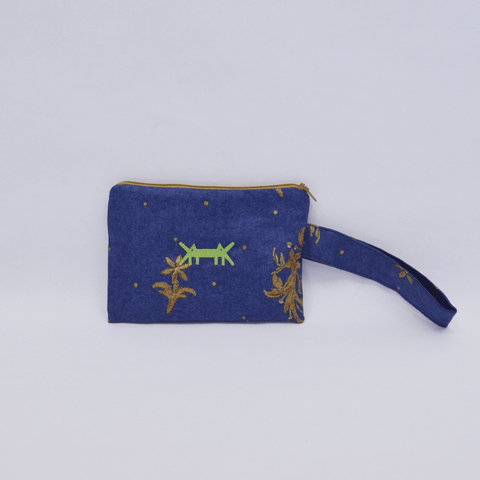 Pouch Midi in Navy Blue Denim-like