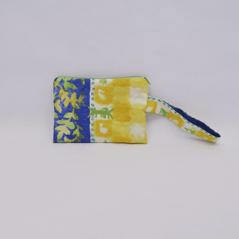 Pouch Midi in Lemon-Cobalt Blue Print